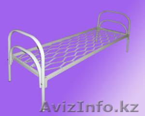 Кровати железные одноярусные для санаториев, кровати металлические с ДСП спинкой - Изображение #1, Объявление #1436422